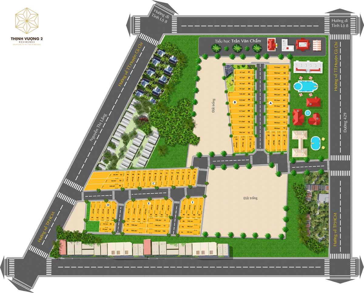 Mat bang Du an Khu dan cu Thinh Vuong 2 Residence - Khu dân cư Thịnh Vượng 2 Residence Củ Chi