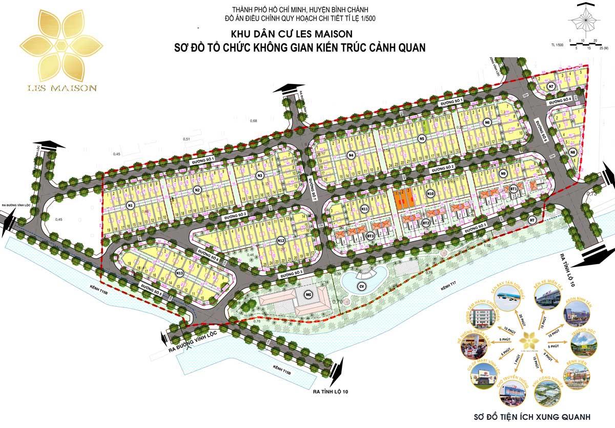 Mat bang phan lo Du an KDC Les Maison Binh Chanh - Les Maison